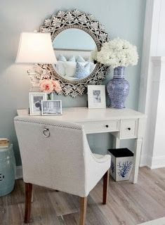 This is so pretty! Vanity table, but also could be a desk/work area!