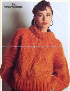 5c569fd0afac33 Knitting Pattern Ladies woman s Chunky Bulky Polo Neck Sweater  Jumper size  32-38in 81-97cm