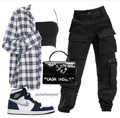 Baddie Outfits Casual, Cute Swag Outfits, Cute Comfy Outfits, Kpop Fashion Outfits, Tomboy Fashion, Retro Outfits, Grunge Outfits, Stylish Outfits, Polyvore Outfits Casual