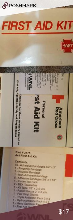 Personal First Aid Kit Brand American Red Cross. What's inside? See the pictures! Plastic first aid container. Meant for auto or home. Easily used for travel and portable. Brand new. american red cross Accessories