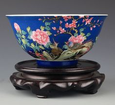 "A BLUE GROUND FLOWER PAINTED PORCELAIN BOWL. Qing Dynasty, ""YONG ZHENG NIAN ZHI"" MARK W:6.0 in×H:3.0 in"