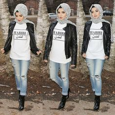My go to outfit at the moment! Hijab from & shirt from ♥ Street Hijab Fashion, Muslim Fashion, Islamic Fashion, Modest Fashion, Indian Fashion, Turban, Hijab Styles For Party, Hijab Jeans, Hijab Style Tutorial