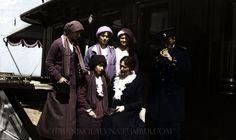 OTMA with their parents, Tsar and Tsarina of Russia, aboard the Standart, ca. 1914 coloured by otmanikolaevna