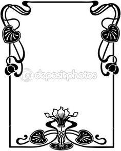 marco floral de estilo art nouveau — Vector de stock  #5720422