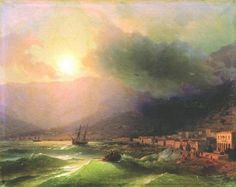 """""""Seaside city. View of Yalta"""" 1866 by Ivan Aivazovsky (1817-1900). Oil on canvas (82x110cm). Private collection. The story of Ivan Aivazovsky is peerless in the history of art. A poor boy from an obscure Black Sea port, he ended his life as the best known 19th century Russian painter in the world, a man who raised European maritime painting to new heights. Yalta is a resort city on the north coast of the Black Sea in the Crimean peninsula."""