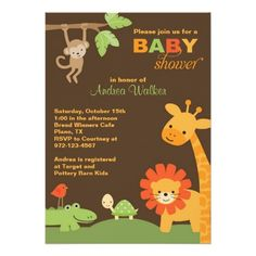 Jungle Animals Baby Shower 5x7 Invitations.  Artwork designed by cocoamintprints.