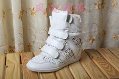 Isabel Marant Wedge Sneakers High Top Suede Leather All White  $172.00