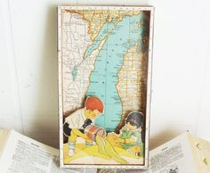 Beach Decor - Michigan Map - Vintage Collage Shadowbox  - Lake Michigan Beaches - Cottage Chic - Lake Michigan - Yay for Summer. $120.00, via Etsy.