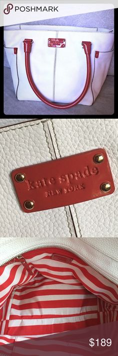 Selling this Kate Spade White and Red Pebbled leather bag on Poshmark! My username is: varnyp. #shopmycloset #poshmark #fashion #shopping #style #forsale #kate spade #Handbags