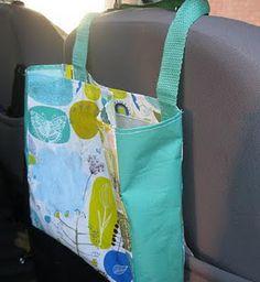 DIY Car Bag made from reusable shopping bag