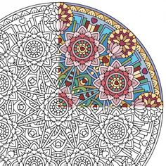 Equanimity mandala printable coloring page: A complex and highly balanced mandala of love, lotuses and solid structures. When colored mindfully, this adult coloring page can help nurture feelings of equanimity, stability and harmony.