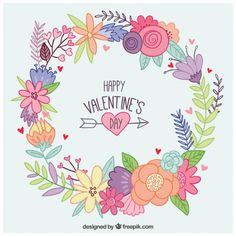 Millions of Free Graphic Resources. Art Floral, Floral Drawing, Valentine Wreath, Valentine Day Love, San Valentin Vector, Purple Flowers Wallpaper, Illustration Blume, Flower Doodles, Tips & Tricks