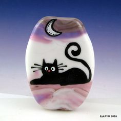 """MAGGY McDOODLE"" byKAYO a Handmade FUNNY CAT Lampwork Art Glass Focal Bead SRA #Lampwork"