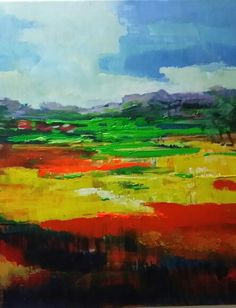 abstract landscape by Shahnila Mughees Examples Of Art, Abstract Landscape, Art History, Art Ideas, Landscapes, Paintings, Quilts, Handmade, Inspiration
