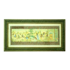 Antiga pintura persa em placa representando Cenas do cotidiano, paspatur e moldura pintados a mão (