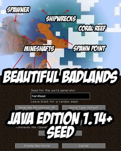 An absolutely beautiful badlands seed for Minecraft (and higher) with mineshafts, spawners, shipwrecks, coral reefs and much, much more. Minecraft Cheats, Minecraft Mobs, Minecraft Plans, Minecraft Tutorial, Minecraft Blueprints, Minecraft Creations, Minecraft Projects, Minecraft Designs, Minecraft Furniture