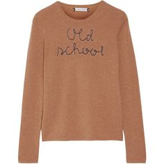 Lingua Franca Old School embroidered cashmere sweater found on Polyvore featuring tops, sweaters, sand, beige top, beige sweater, cashmere tops, wool cashmere sweater and embroidered sweaters