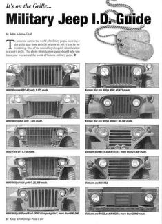 The types of jeep calenders from the pre-series Bantam Willys Ford Ka Jeep Willys, Jeep 4x4, Cj Jeep, Jeep Cars, Jeep Truck, Pickup Trucks, Jeep Wrangler, Willys Wagon, Military Jeep