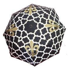 Black & Gold Fleur-de-Lis Geo Quatrefoil Pattern Umbrella