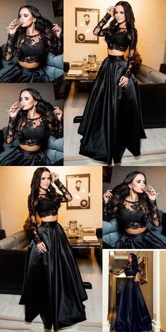 Two Piece Prom Dresses Long, 2019 Black Formal Evening Dresses Long Sleeve, A-line Military Ball Dresses with Slit, Elegant Pageant Graduation Party Dresses Lace Black Lace Prom Gown Long Party Dresses Long Sleeve Evening Dresses, Prom Dresses Long With Sleeves, Black Prom Dresses, Mermaid Evening Dresses, Prom Dresses Online, Formal Evening Dresses, Long Dresses, Cool Prom Dresses, Maxi Dresses