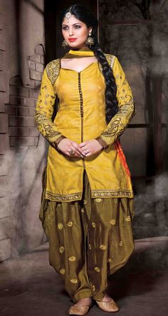 USD 35.77 Yellow Cotton Silk Punjabi Suit 48016