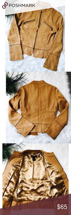 Arden B 100% Lamb Leather Jacket - Size Small Buttery soft like a glove. This caramel colored jacket is 100% lamb leather. There are no stains, tears or rips. Zippers are functional pockets. Reasonable offers considered. Arden B Jackets & Coats