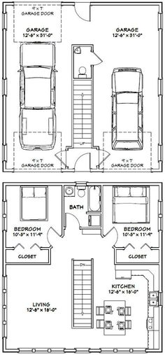 Amazing Shed Plans - House -- -- 961 sq ft - Excellent Floor Plans Now You Can Build ANY Shed In A Weekend Even If You've Zero Woodworking Experience! Start building amazing sheds the easier way with a collection of shed plans! Garage Shop Plans, Plan Garage, Garage Apartment Plans, Garage Apartments, Apartment Ideas, Garage Ideas, Above Garage Apartment, Small Apartment Plans, Garage Floor Plans