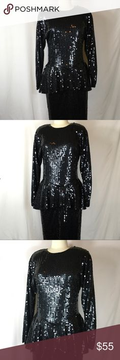 Vintage 1980s black sequin dress EUC Vintage 1980s black sequin dress EUC, size 10. Super cute dress, I'm sure it cost a fortune new. You will rule New Years Eve in this dress! Vintage Dresses