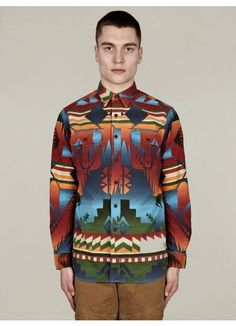 Men's Navajo Print Cotton Shirt