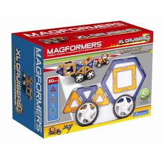 Magformers XL Cruiser (30 PCS) - Create super fast cars with our lightweight XL pieces! Arriving in red and yellow or blue and orange each with unique grey edges. Use triangles, squares and hexagons to build cars and roadsters! Let your imagination run wild!