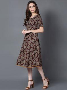 Brown Cotton Kalamkari Swing Dress Western Dresses, Indian Dresses, Frock Fashion, Fashion Outfits, Kalamkari Dresses, Frocks And Gowns, Tunics, Blouses, Frock Patterns