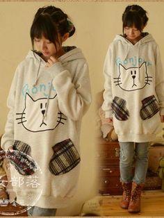 bonjour cat plaid hoodie