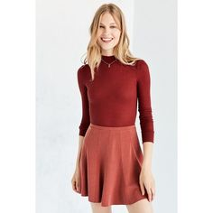 Silence + Noise Spin City Knit Skater Skirt ($49) ❤ liked on Polyvore featuring skirts, stretch knit skirt, red stretch skirt, stretch skirts, red knit skirt and circle skirt