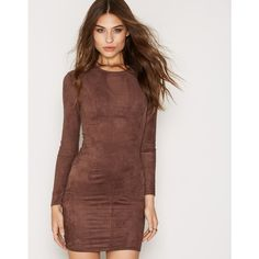 Nly Trend Suede Dress (£38) ❤ liked on Polyvore featuring dresses ec87fc9a8592