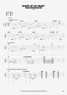 Shape Of My Heart Guitar Tab Guitare