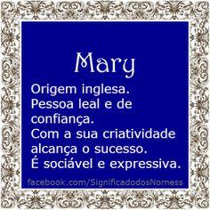Significado do nome Mary | Significado dos Nomes