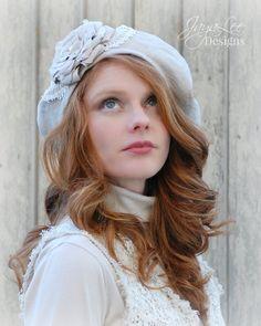 Linen Rose Beret Hat by GreenTrunkDesigns