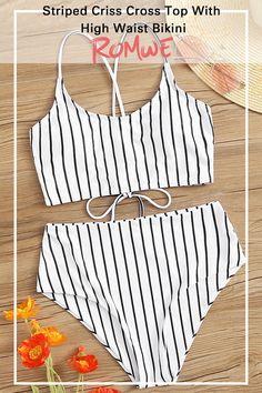 Striped Criss Cross Top With High Waist Bikini Summer Bathing Suits Bikini Criss Cross high striped top waist Bathing Suits For Teens, Summer Bathing Suits, Swimsuits For Teens, Cute Bathing Suits, Bikini Boho, Bikini Swimsuit, Bandeau Bikini, Bikini Girls, Women Bikini