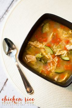 Chicken rice vegetable soup - Except I will not use the rice side thing I'll just use precooked rice that I made.