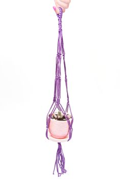 24 inches Purple Hanging Planter - Plant Hanger - Wedding Decor Idea - Macrame  Plant  Holder 3mm Cord by DanceOfTheSoul on Etsy