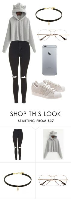 """Outfit"" by andreeadeeix12 ❤ liked on Polyvore featuring Topshop, WithChic, Ray-Ban and adidas Originals"