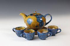 Teapot Set Blue Orange 600 ml 4 x cups 60 ml