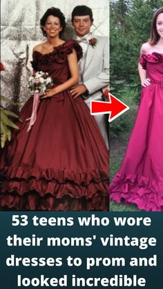53 #teens who wore their moms' #vintage #dresses to prom and looked #incredible Girl Fashion, Fashion 2020, Fashion Outfits, Fashion Trends, Fashion Heels, Online Shopping Fails, Grey Hair Transformation, Bridal Dresses, Prom Dresses