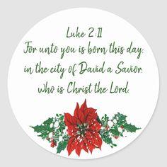 Christmas Scripture Luke 2:11 Pointsettia Holly Classic Round Sticker