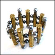 Brass Ammo Bullet Casing   Beaded Bracelet   by VitalMadness on Etsy, $45.00