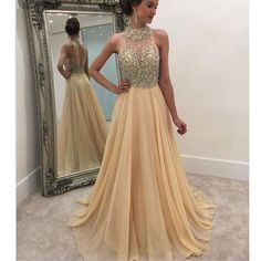 Champagne Beaded Top Stunning Long Prom Dresses, PM0253