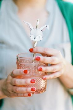 Bunny birthday party printable rabbit drink straw.  So cute for baby shower or party.