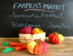 NEW Felt Heirloom Tomato Play Food or Pin Cushion by milkfly