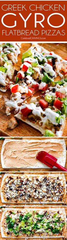 Greek Chicken Gyro Flatbread Pizzas – these are amazing and SO quick and easy! An explosion of flavors and textures with the most flavorful Greek Chicken and easy Blender Tzatziki! Great for lunch/dinners or for appetizers and entertaining! via Carls Berg Flatbread Pizza, Chicken Flatbread, Flatbread Recipes, Pizza Pizza, Pizza Recipes, Chicken Recipes, Dinner Recipes, Cooking Recipes, Healthy Recipes