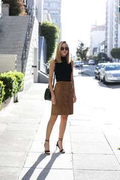 Suede Skirt and Mock Neck Top